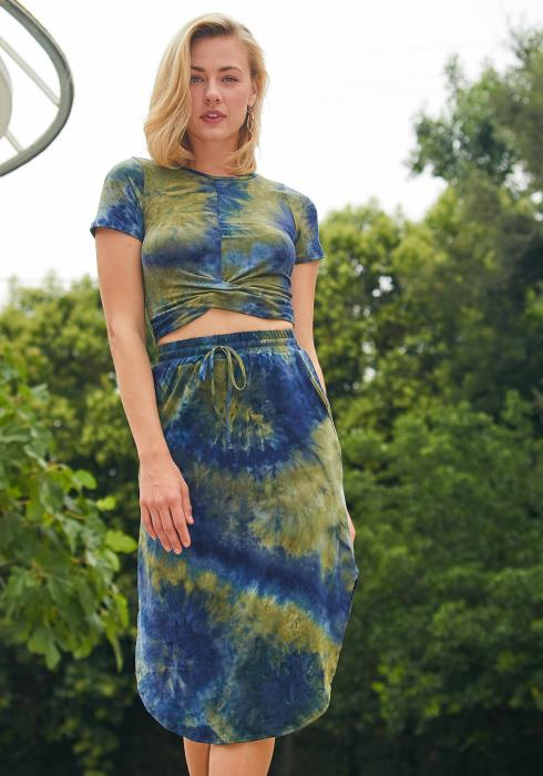 Tansy Tie Dye Round Hen Midi Skirt