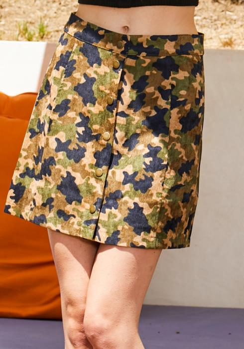 Tansy Camo Button Up Skirt