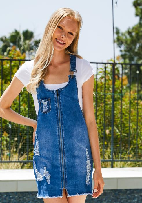 Tansy Distressed Denim Zip Up Dress