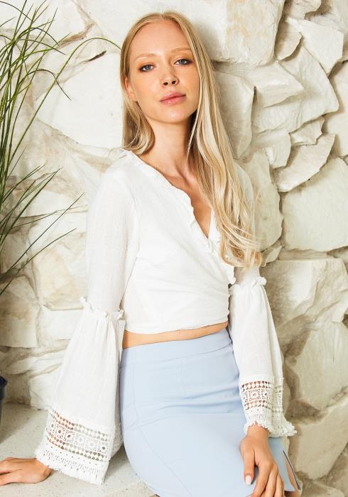 Tansy Lace Cutout Wrap Blouse