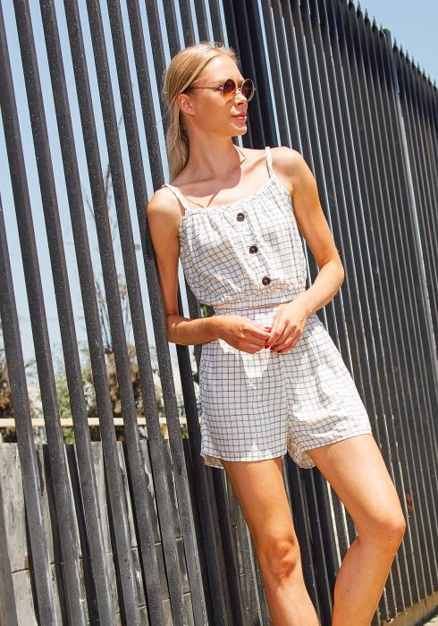 Tansy Button Up Grid Print Set