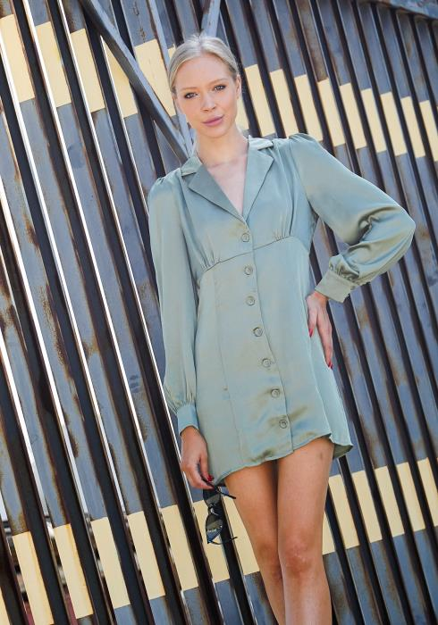 Tansy Button Up Satin Mini Dress