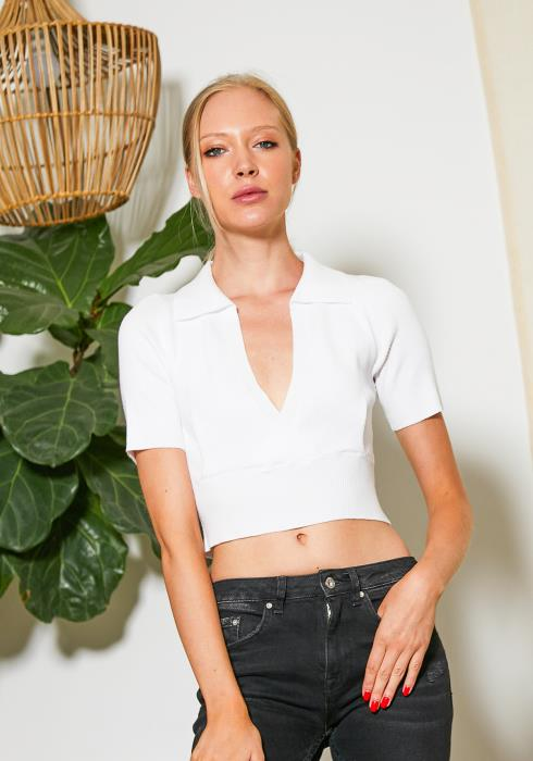 Tansy Collared V-Neck Crop Top