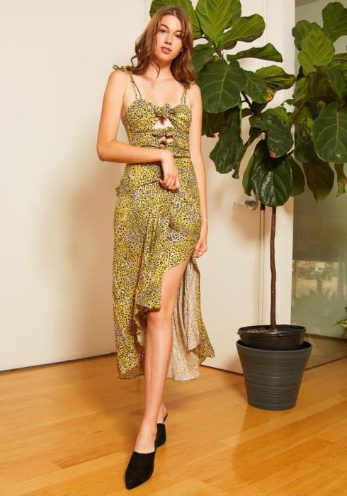 Tansy Yellow Leopard Print Womens Maxi Dress