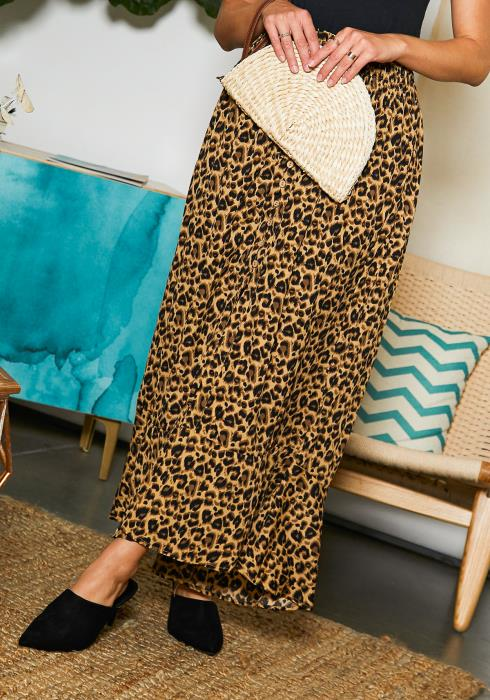 Tansy Womens Cheetah Print Maxi Skirt