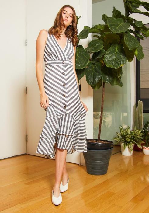 Tansy Striped Ruffled Sleeveless Womens Dress