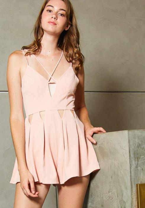 Tansy Triangle Cut Fit and Flare Womens Romper