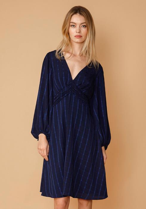Nurode V-Neck Checkered Dress