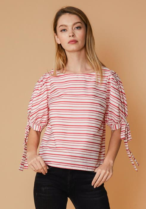 Nurode Satin Stripe Tie Sleeve Top