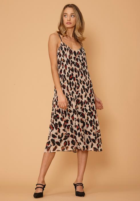 Nurode Leopard Pleated Cami Dress