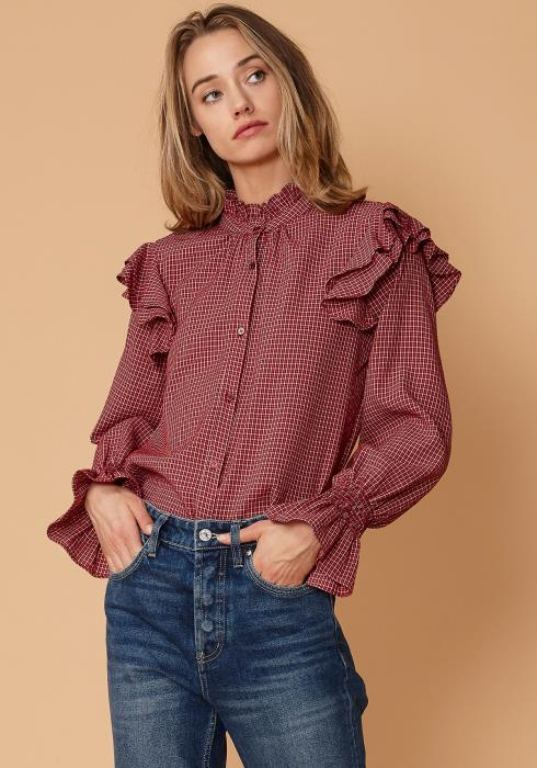 Nurode Ruffle Detailed Plaid Shirt