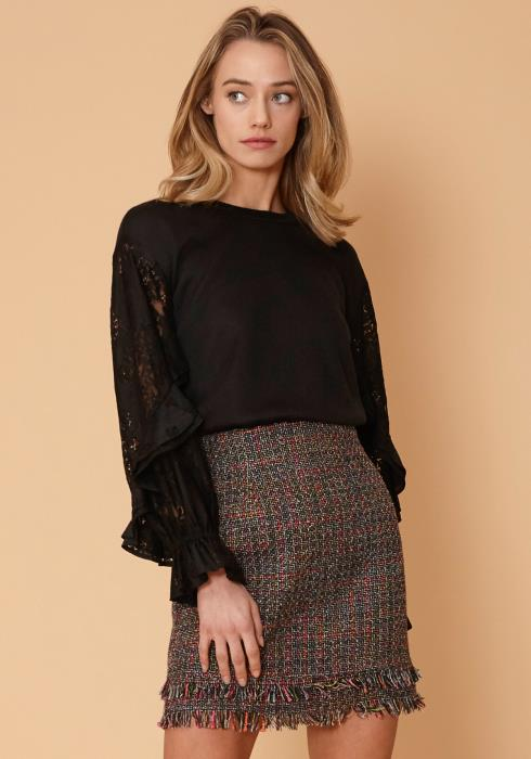 Nurode Contrast Lace Sleeve Sweatshirt