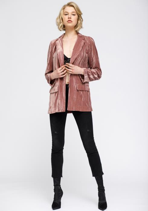 Nurode Velvet Blazer With Flap Pockets Women Clothing