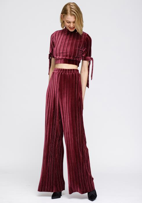 Nurode Velvet Wide Leg High Waist Pants Women Clothing