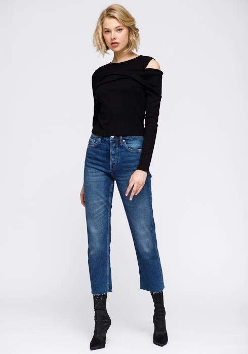 Nurode Cold Shoulder Ribbed Knit Top Women Clothing