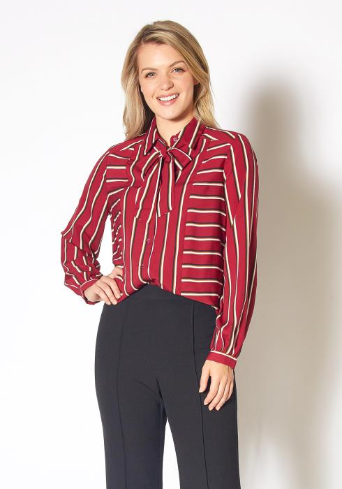 Pleione Womens Stripe Tie Neck Blouse