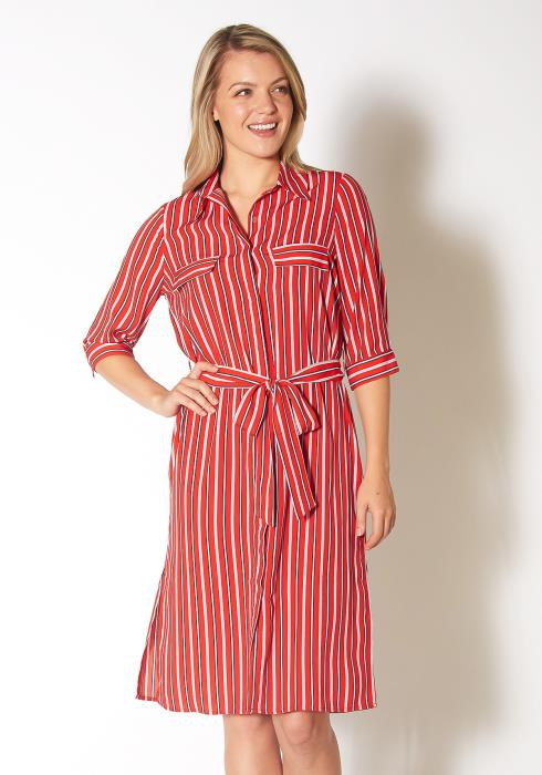 Pleione Striped Button Down Shirt Dress