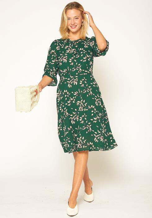 Pleione Vintage Tie Neck Midi Dress