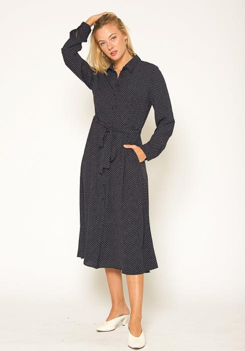 Pleione Polkadot Button Down Shirt Dress