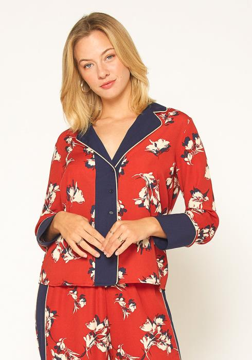 Pleione Floral Navy Contrast Pajama Blouse