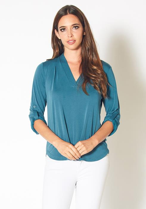 Pleione Roll Up Sleeve V-Neck Blouse