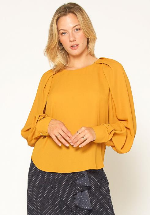Pleione Gathered Shoulder Blouse