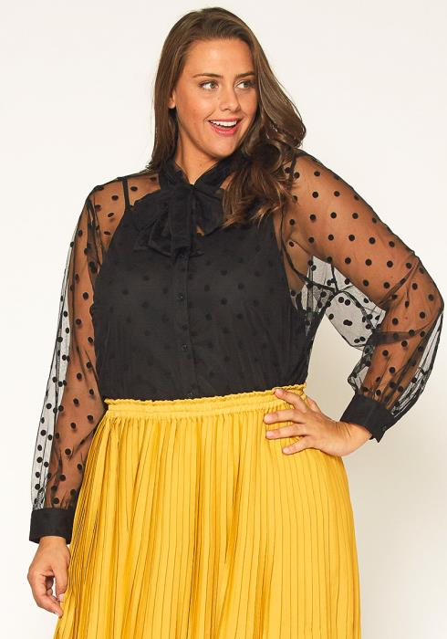 Pleione Plus Size Polkadot Mesh Blouse With Cami
