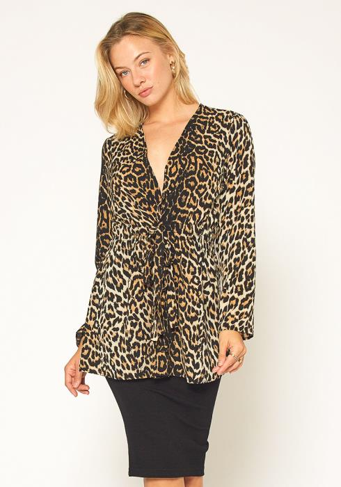 Pleione Leopard Tie Front Top