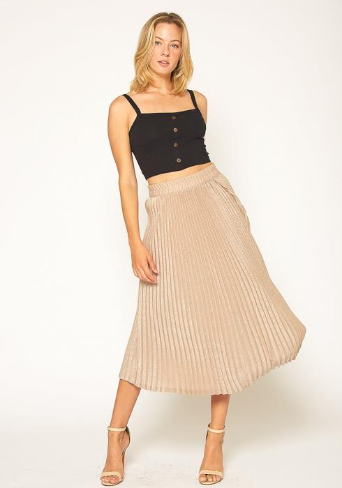 Pleione Lurex Pleated Maxi Skirt