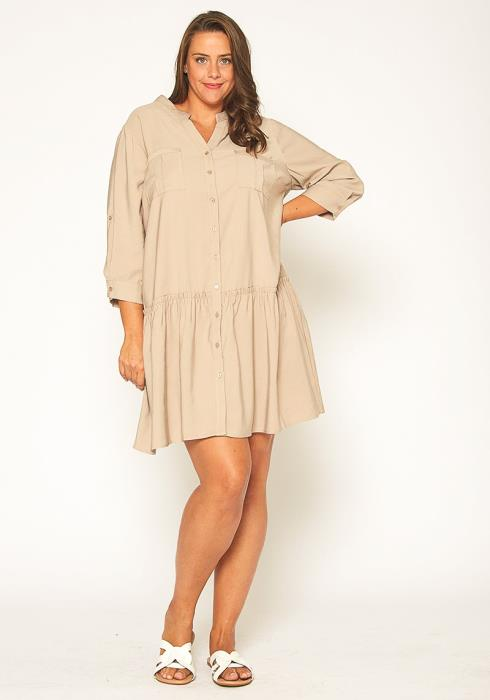 Pleione Plus Size Button Up Tunic Shirt Dress