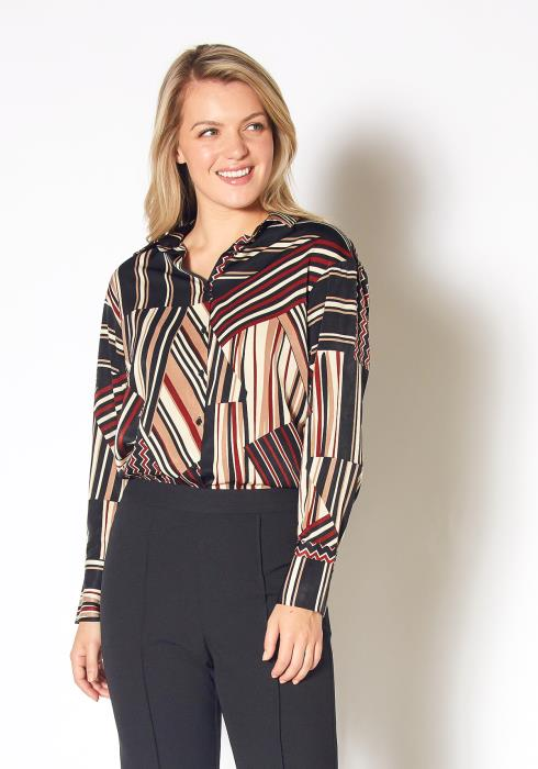 Pleione Multi Stripe Button Up Collared Blouse