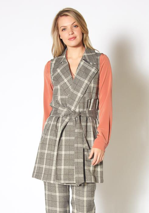 Pleione Sleeveless Plaid Tie Waist Vest