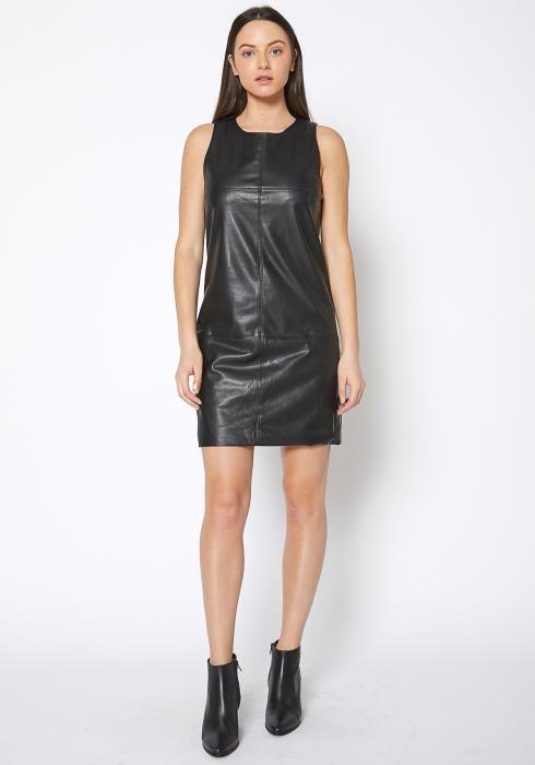 Ro & De Black Leather Moto Tank Dress