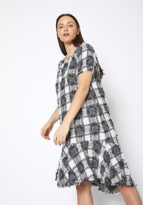 Ro & De Fuzzy Fringe Plaid Midi Dress
