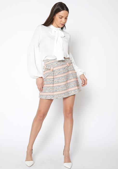 Ro & De Pink Striped Tweed Mini Skirt
