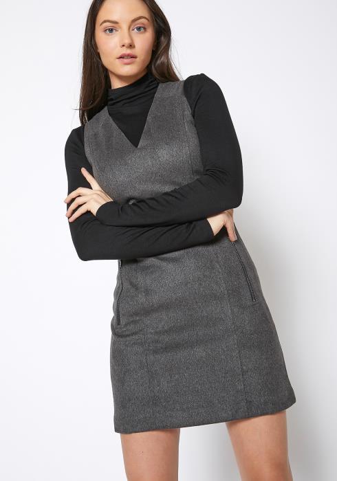 Ro & De Brushed Wool V Neck Tank Mini Dress