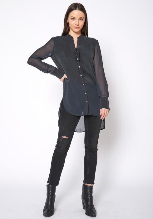 Ro & De Mesh Contrast Button Up Shirt