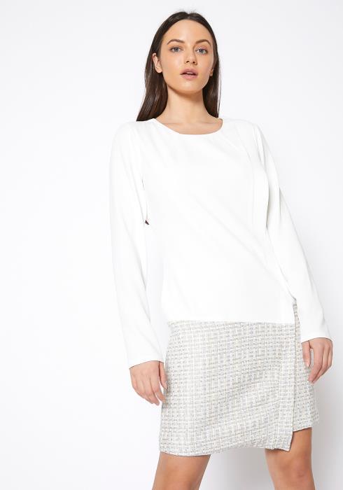 Ro & De Tweed Hem Faux Wrap Dress