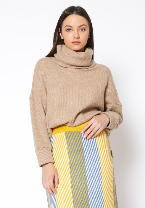 RO & DE Turtle Neck Ribbed Oversize Sweater Top