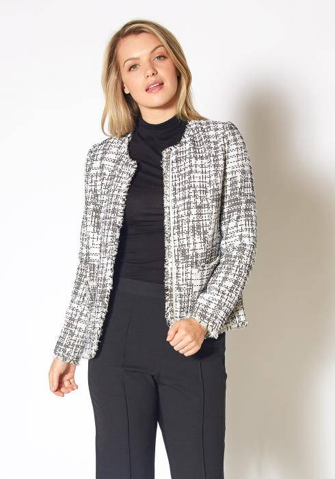 Pleione Womens Open Front Tweed Blazer