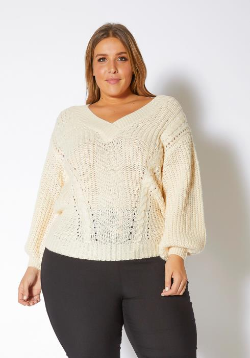 Pleione Plus Size Womens Loose Knit Sweater