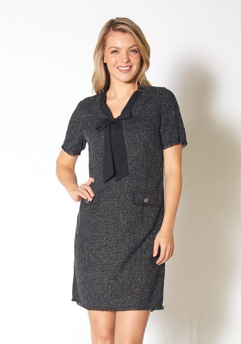 Pleione Womens Crosshatch Woven Bow Front Mini Dress