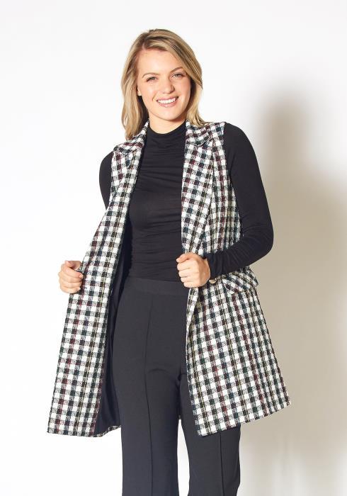 Pleione Womens Boucle Plaid Tweed Longline Vest