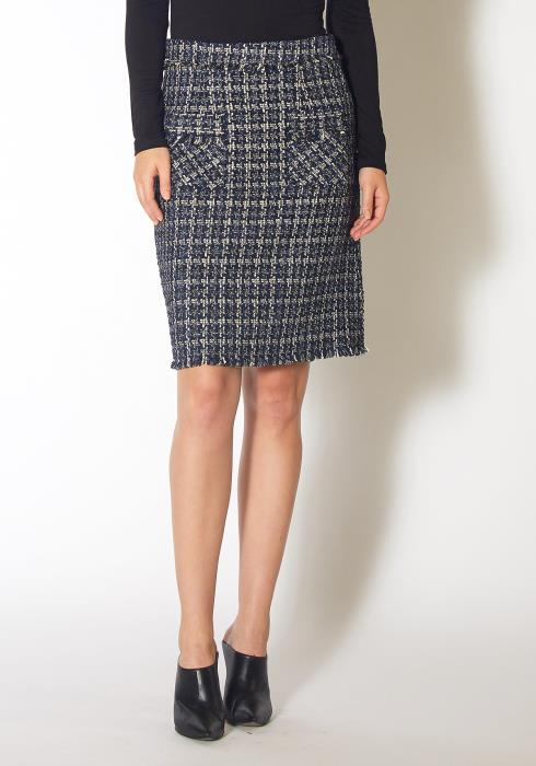 Pleione Womens Navy Tweed High Rise Pencil Skirt
