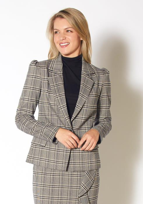Pleione Womens Span Plaid Notch Collar Tweed Blazer