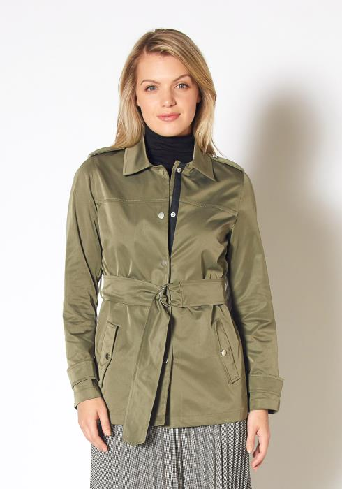Pleione Womens Olive Windbreaker Belted Collar Jacket