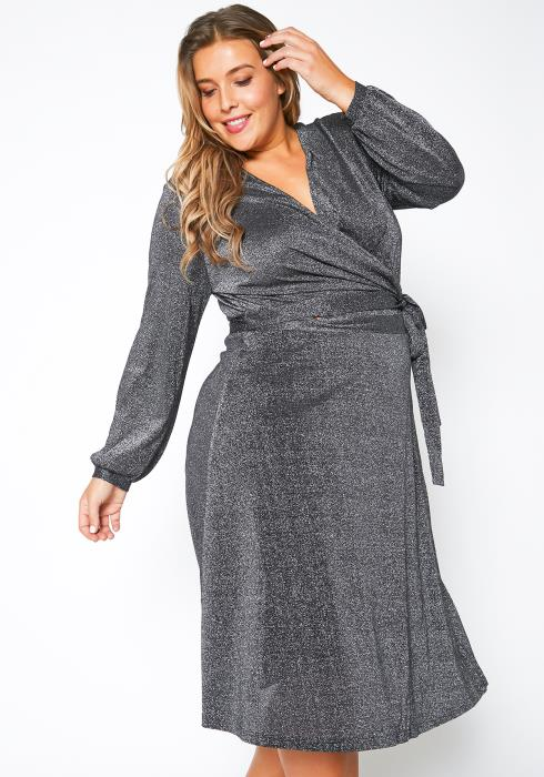 Pleione Plus Size Lurex Metallic Wrap Dress