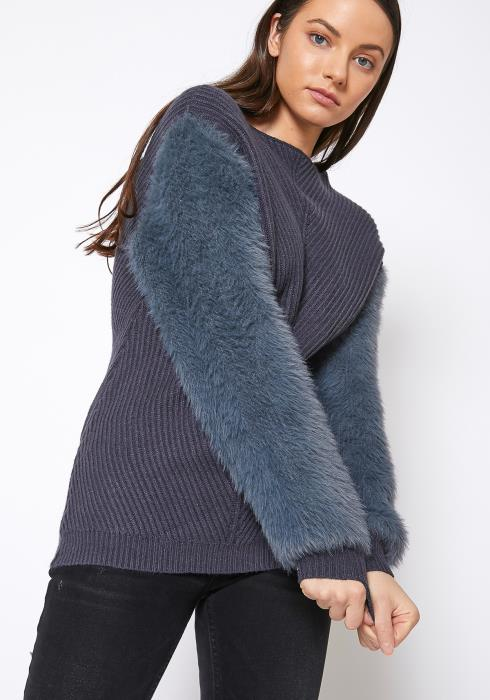 Pleione Faux Fur Sleeve Boat Neck Sweater