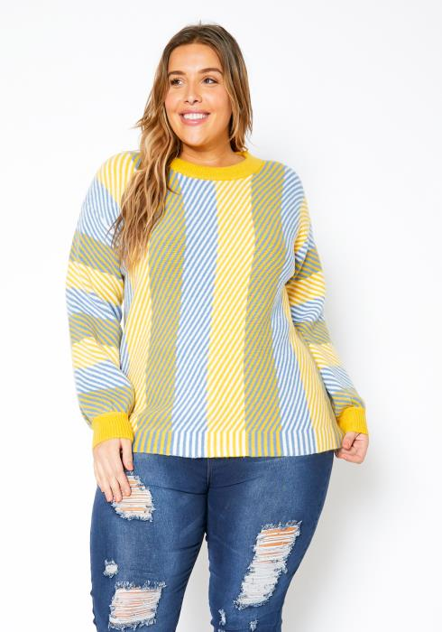 Pleione Plus Size Multi Stripe Cozy Crewneck Sweater