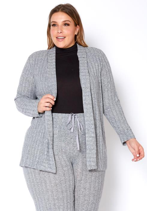 Pleione Plus Size Cozy Ribbed Longline Cardigan